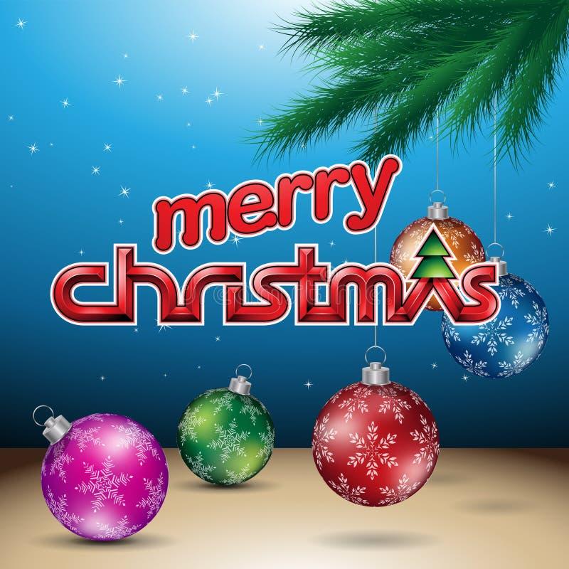 Blauwe Glanzende Vrolijke Kerstmis Vectorillustratie Als achtergrond vector illustratie