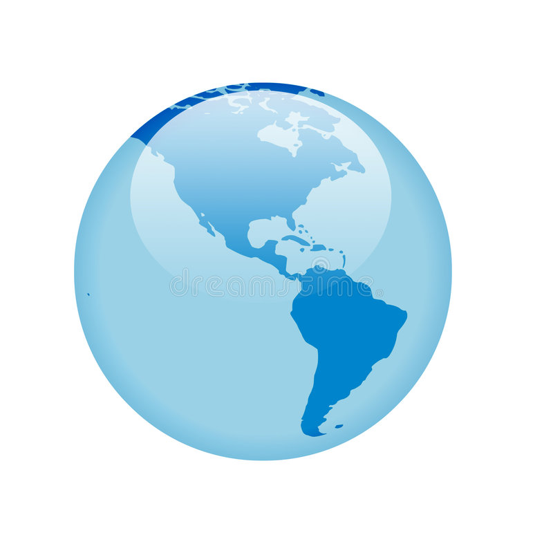 Blauwe glasbol stock illustratie