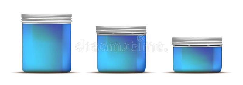 Blauwe glaskruik met schroefdeksel stock illustratie