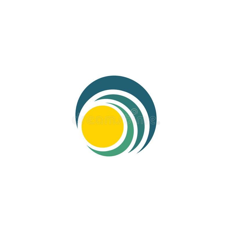 Blauwe golf en gele zon, zonsondergang en zonsopgang logotype Geïsoleerd abstract decoratief embleem, het malplaatje van het ontw royalty-vrije illustratie