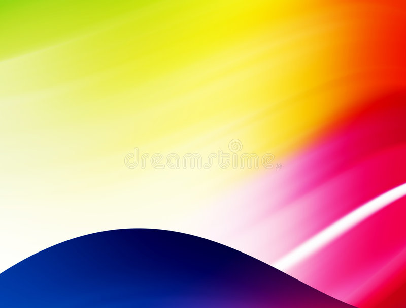 Blauwe golf met kleurenlichten stock illustratie