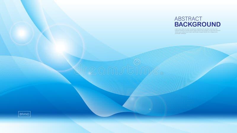 Blauwe golfachtergrond, abstracte textuur, dekkingsontwerp, Geometrische vector, grafisch, Minimaal, vliegermalplaatje, banner, w royalty-vrije illustratie