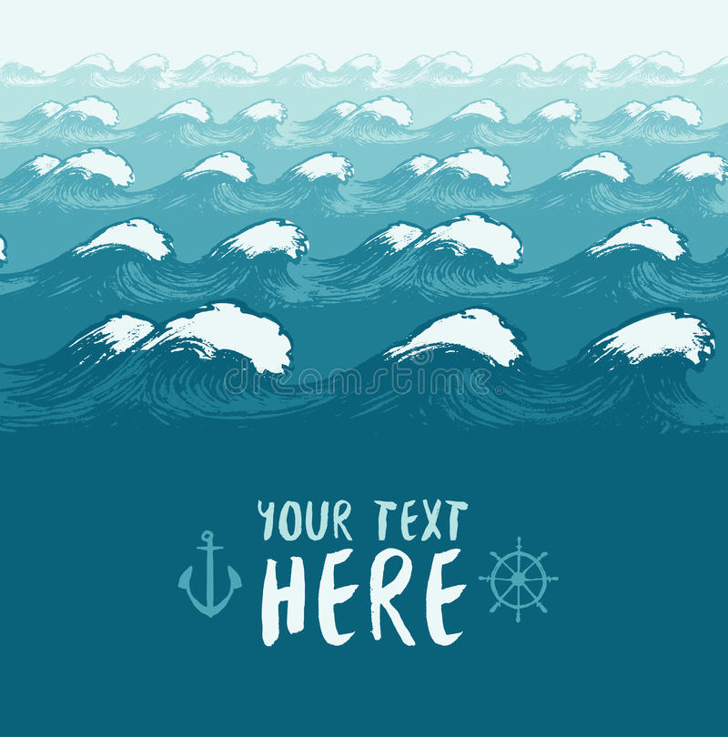 Blauwe golven achtergrond de zomer overzeese bannervector royalty-vrije illustratie