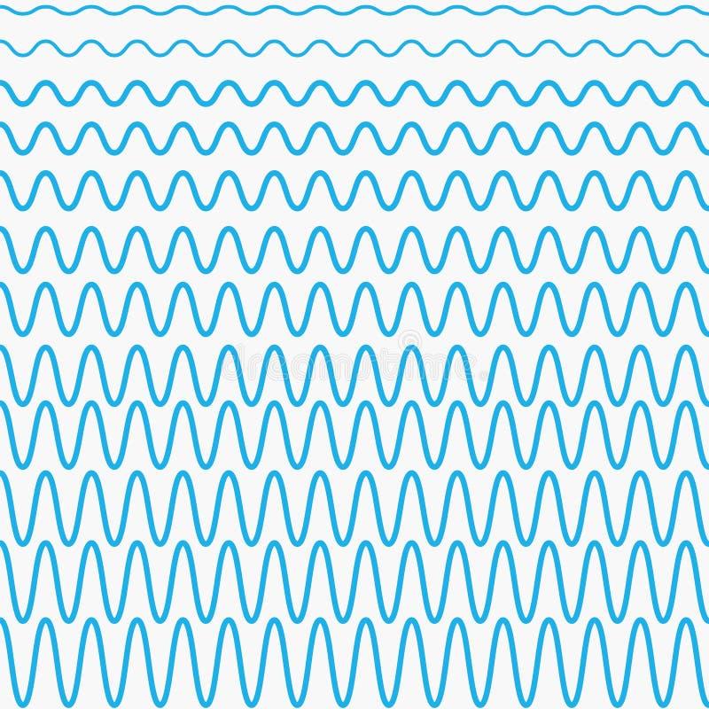 Blauwe golven met verschillende omvang royalty-vrije illustratie