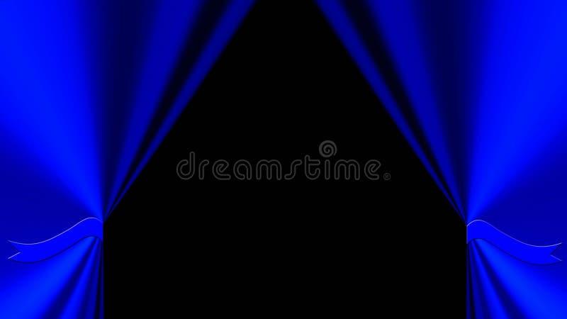 Blauwe gordijnachtergrond royalty-vrije illustratie
