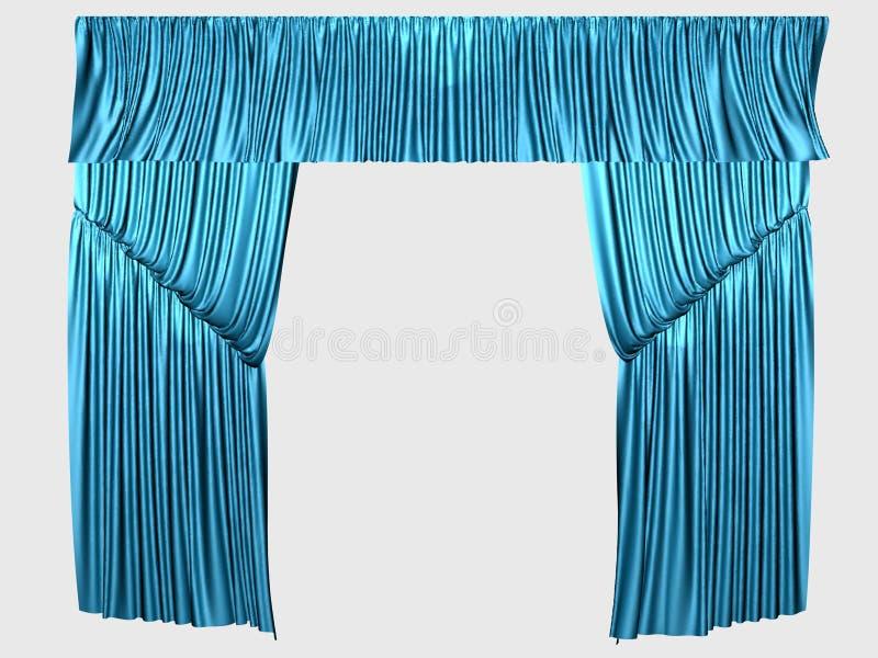 Blauwe gordijnen stock illustratie. Illustratie bestaande uit blauw ...