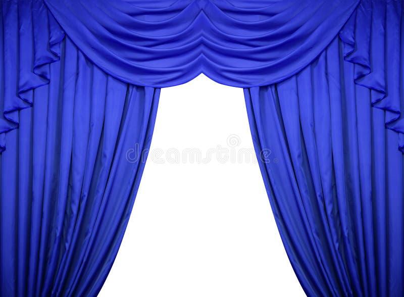 Blauwe Gordijnen Op Een Witte Achtergrond Stock Afbeelding ...