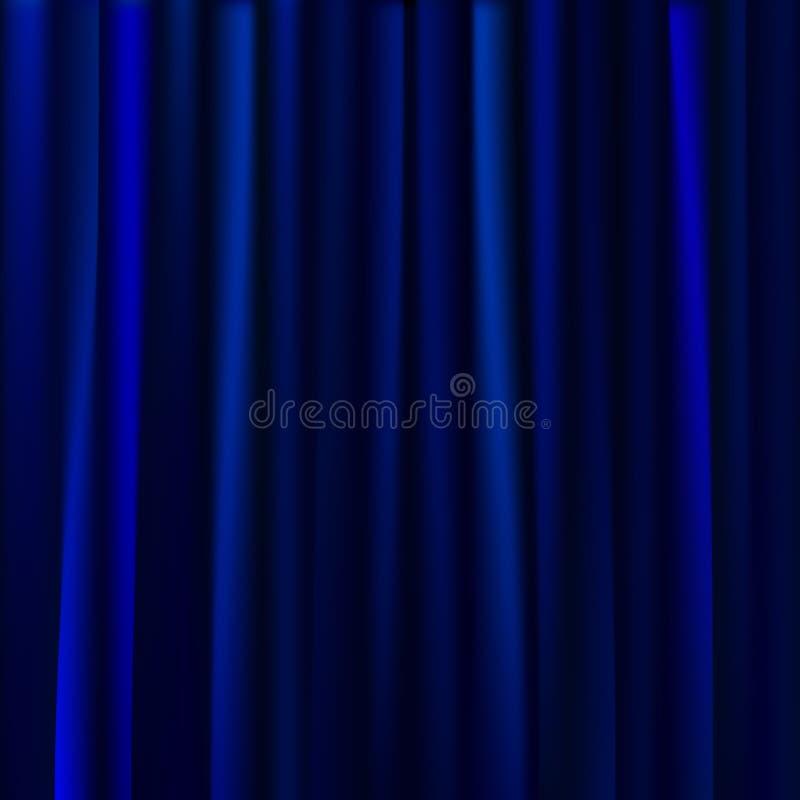 Blauwe gordijnenachtergrond Vector illustratie royalty-vrije stock fotografie