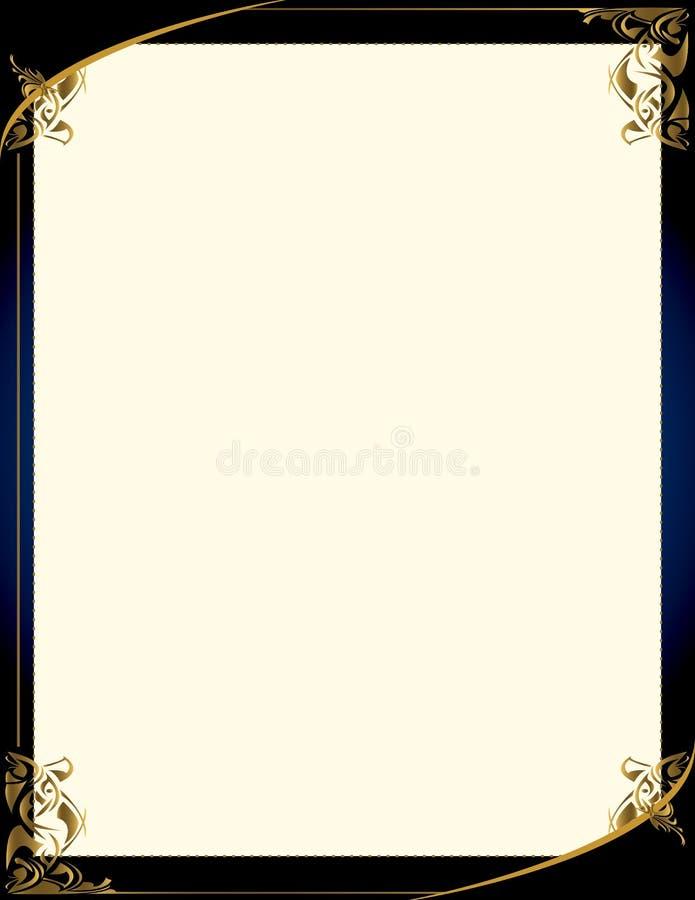 Blauwe gouden achtergrond met frame royalty-vrije illustratie
