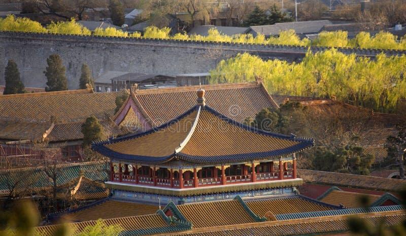 Blauwe Gouden Paviljoen Verboden Stad Peking China stock afbeeldingen