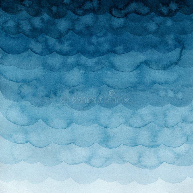 Blauwe gradiëntwaterverf met vlekken en golven Achtergrond vector illustratie