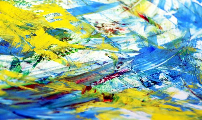 Blauwe grijze gele levendige vage het schilderen waterverfachtergrond, abstracte het schilderen waterverfachtergrond stock illustratie