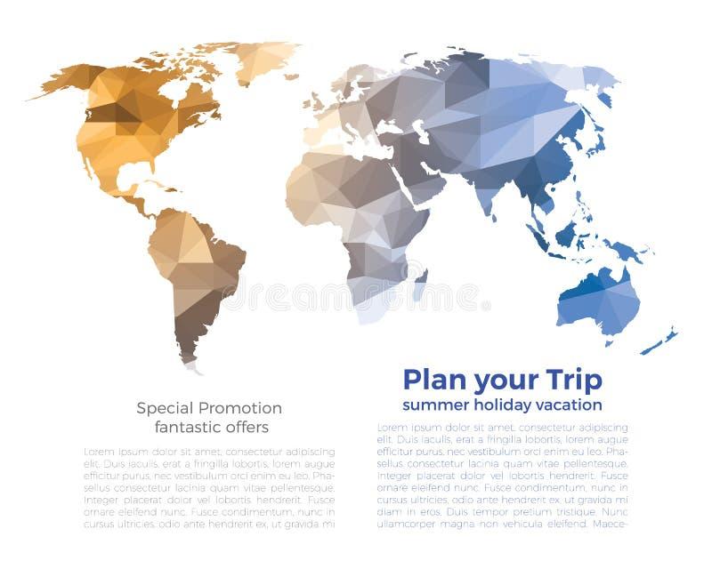 Blauwe grijze oranje lage de veelhoekachtergrond van de wereldkaart op wit vector illustratie