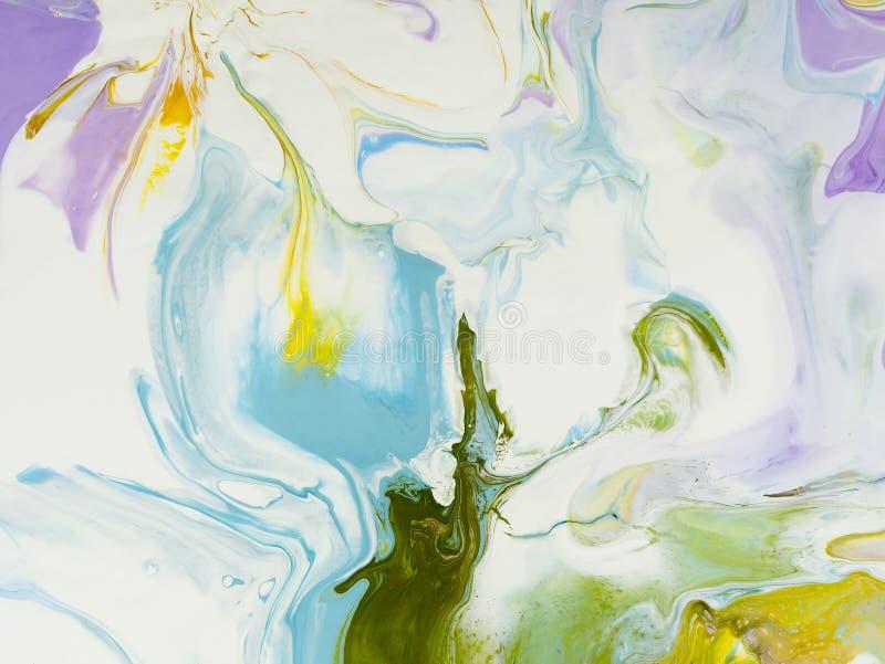 Blauwe, groene en roze abstracte kunsthand geschilderde achtergrond royalty-vrije illustratie