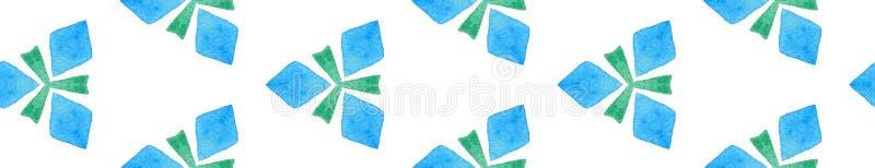 Blauwe groene retro naadloze Rand Scroll Geometrisch stock illustratie