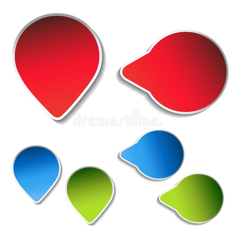 Blauwe, groene, rode pijletiketten op witte achtergrond Eenvoudige pijlknopen Wijzer op Web Het teken van daarna, las meer, speel royalty-vrije illustratie