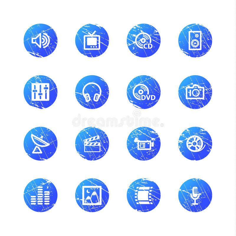 Blauwe grungemedia pictogrammen vector illustratie