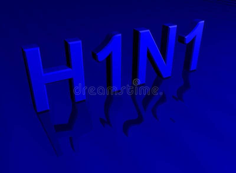 Blauwe H1N1 3D blokletters stock illustratie