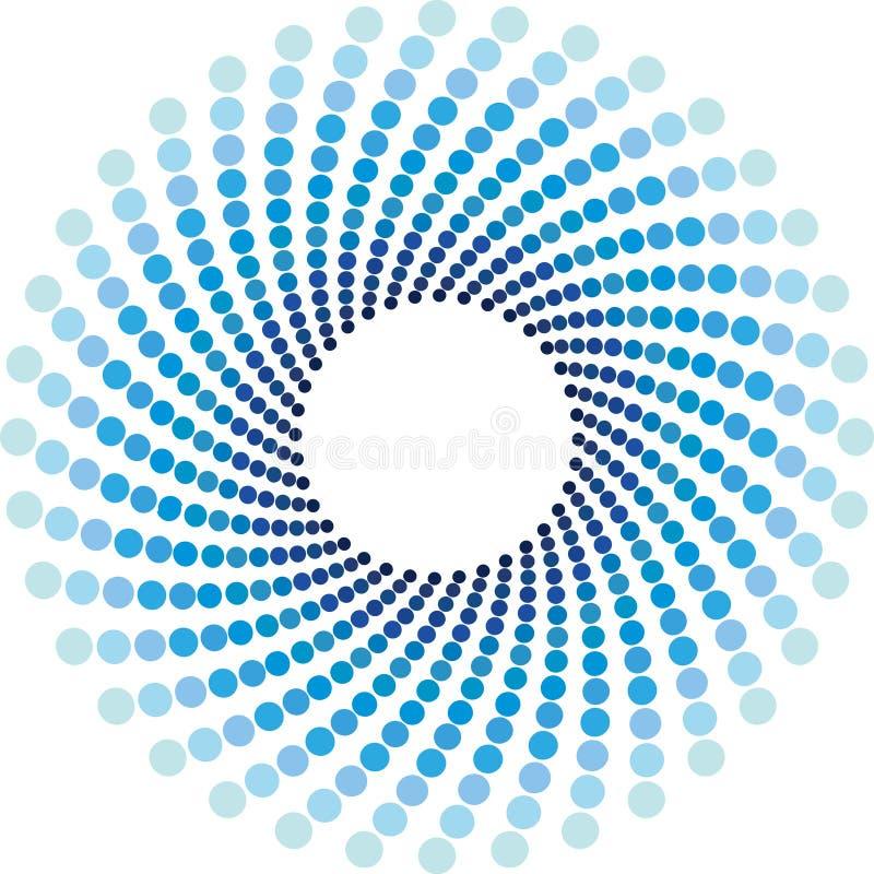 Blauwe halftone cirkelsachtergrond stock illustratie