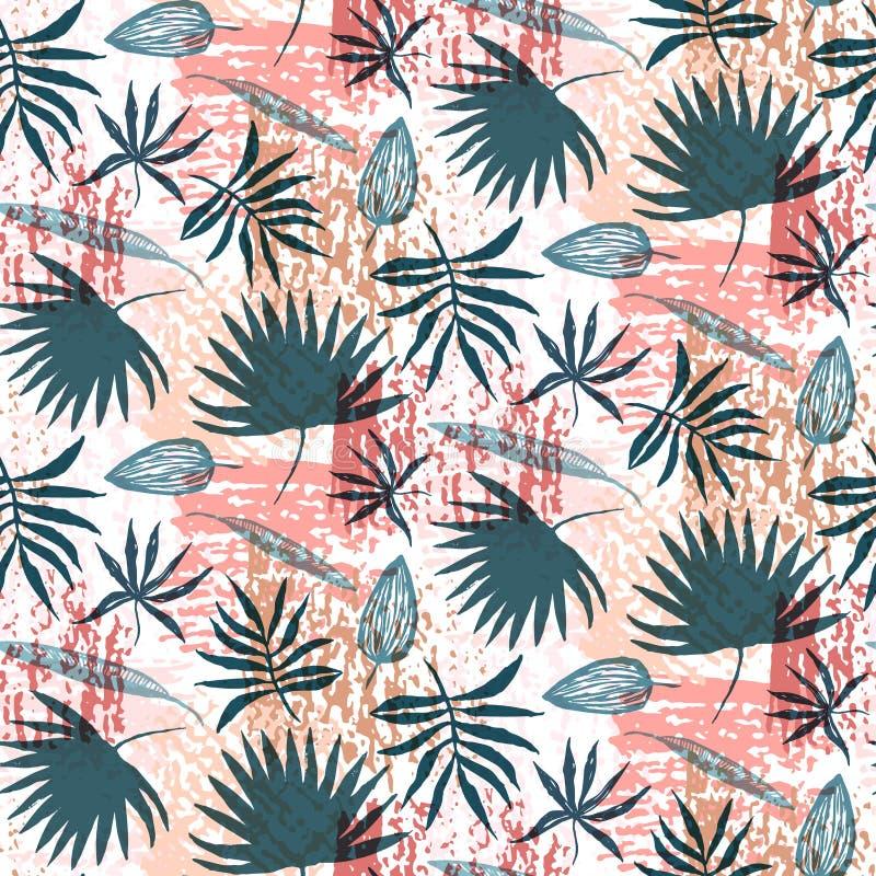 Blauwe hand getrokken bladeren en rood grungepatroon stock illustratie