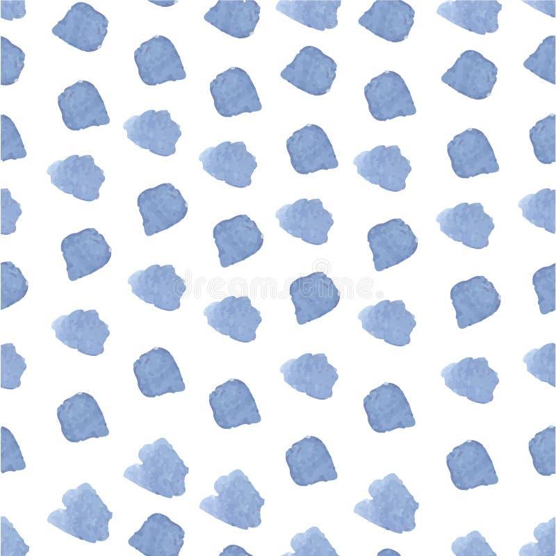 Blauwe hand getrokken naadloze waterverfpenseelstreek vector illustratie