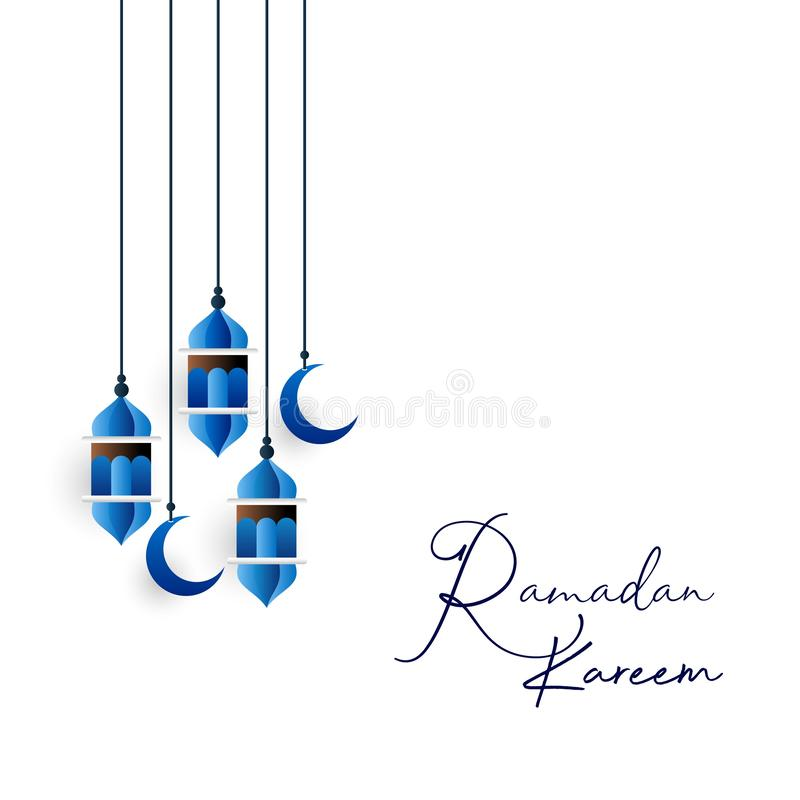 Blauwe Hangning-Lantaarn met Creatief Ramadan Kareem Typography Background stock illustratie