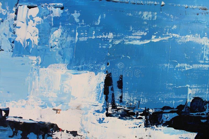 Blauwe heldere kleuren op canvas Landschap met rivier en bos Abstracte kunstachtergrond Olieverfschilderij op canvas Kleurentextu stock fotografie