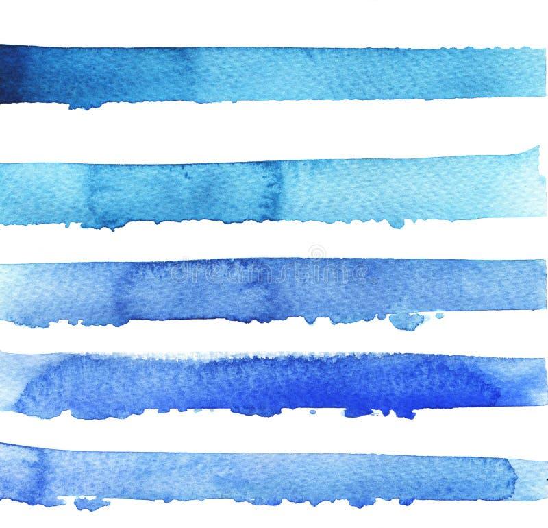 Blauwe heldere strepentextuur De illustratie van de waterverf stock illustratie