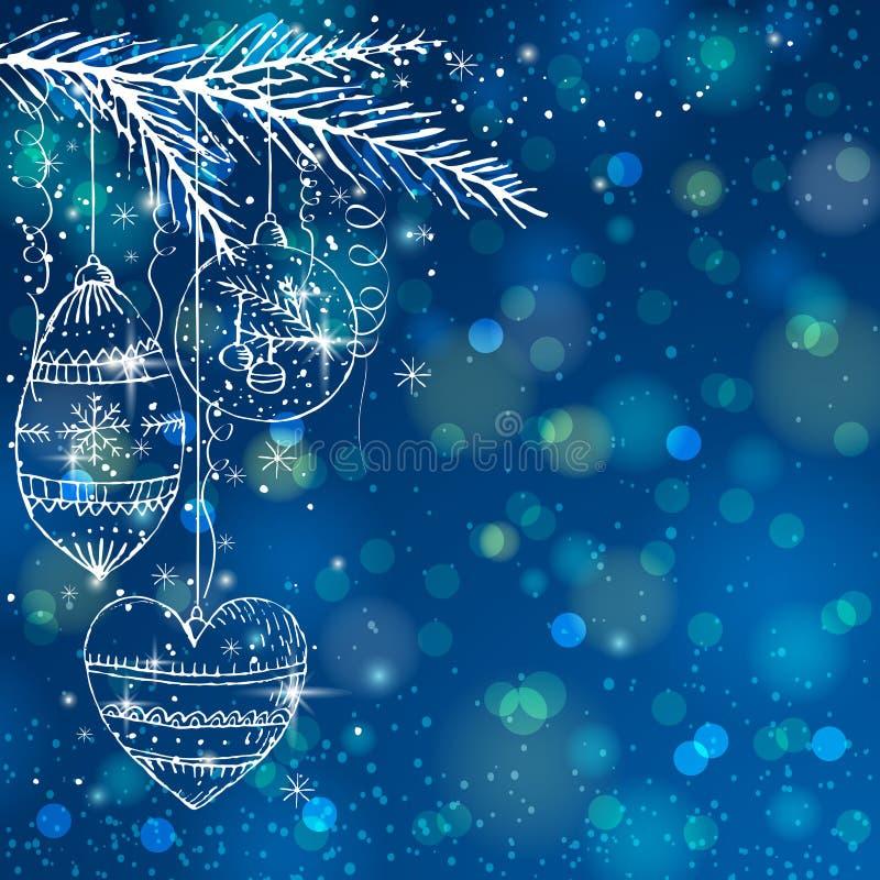 Blauwe helderheidsachtergrond met Kerstmisballen,   stock illustratie