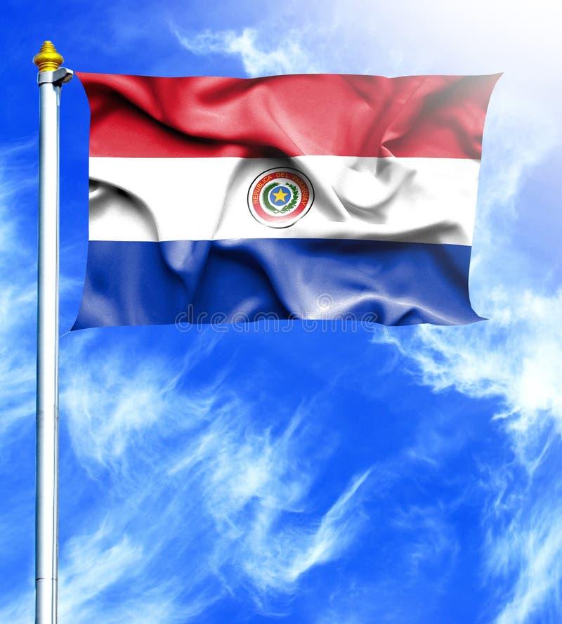 Blauwe hemel en mast met gehangen golvende vlag van Paraguay stock illustratie