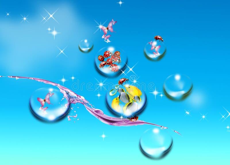 Blauwe hemel en vissen royalty-vrije illustratie
