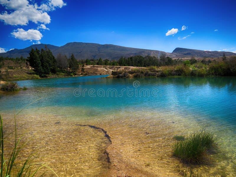 Blauwe hemel en waterspiegel in groen houten bergmeer royalty-vrije stock afbeeldingen