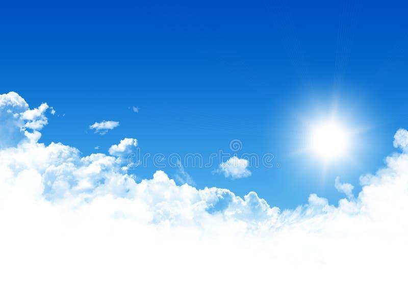 Blauwe hemel en zon royalty-vrije stock afbeeldingen
