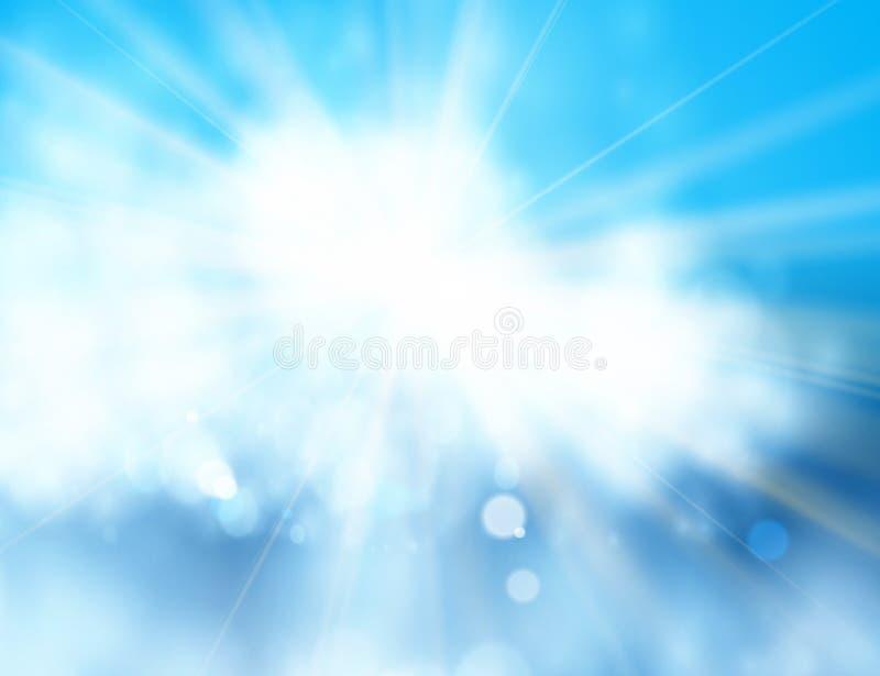Blauwe hemel en zon Realistisch Onduidelijk beeldontwerp met Uitbarstingsstralen Abstracte glanzende achtergrond royalty-vrije illustratie