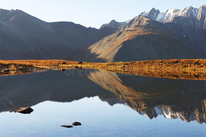Blauwe hemel, meer en bergen. stock afbeelding