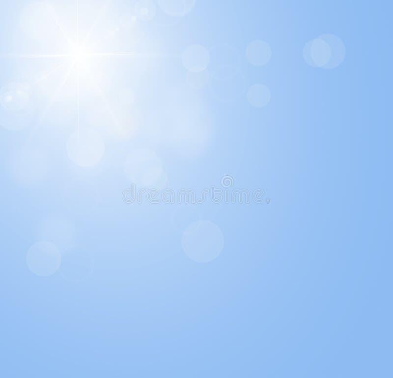Blauwe hemel met de zon die, zonnestraal zonder wolken glanzen royalty-vrije illustratie
