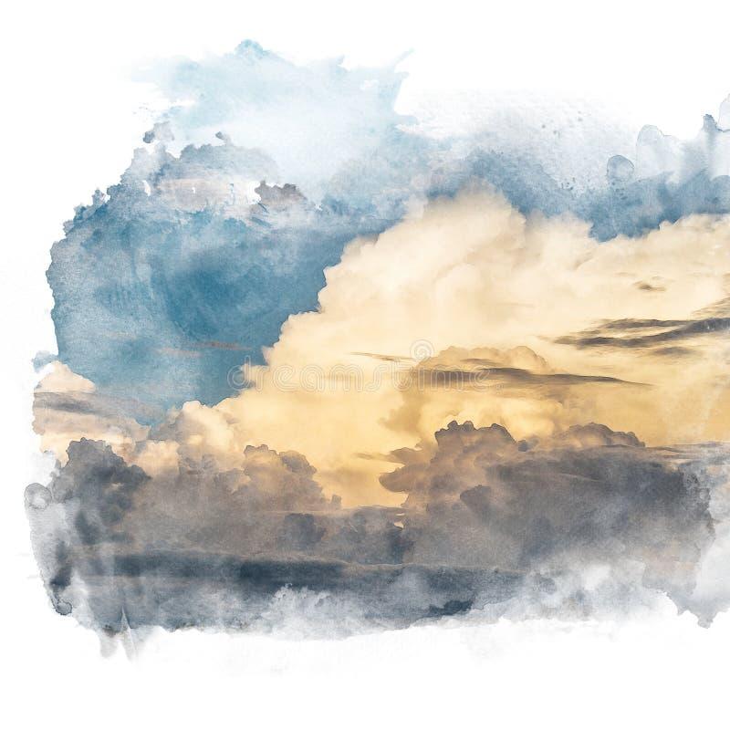 Blauwe hemel met gouden wolk stock illustratie