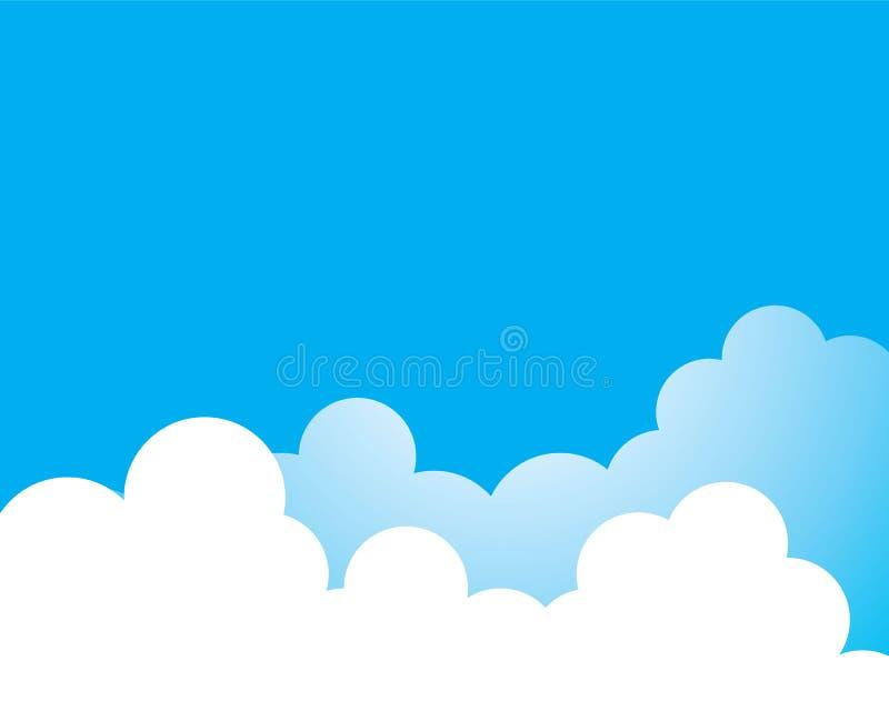 Blauwe hemel met illustratie van het wolken de vectorpictogram stock afbeelding