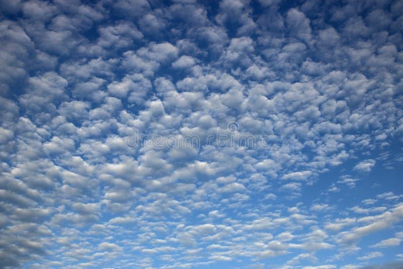 Blauwe hemel met uiterst kleine wolken stock afbeeldingen