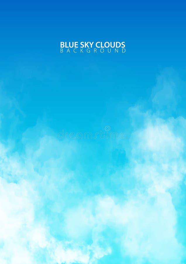 Blauwe hemel met witte realistische wolken Vector illustratie stock illustratie