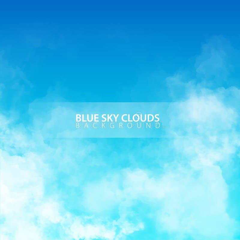 Blauwe hemel met witte realistische wolken Vector illustratie royalty-vrije illustratie