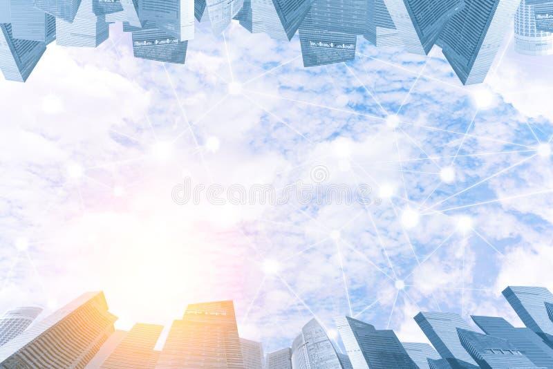 Blauwe hemel met wolk in zonsonderganglicht met moderne stad en wireles royalty-vrije stock fotografie