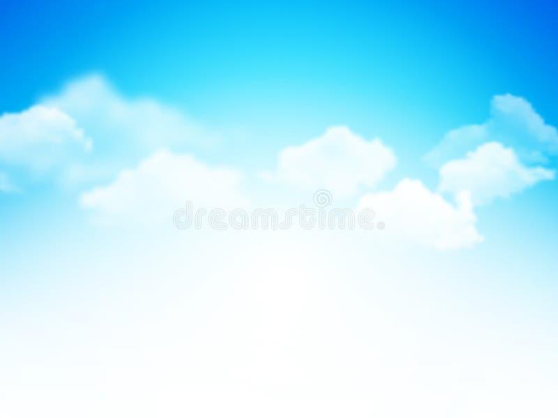 Blauwe hemel met wolken abstracte vectorachtergrond stock illustratie