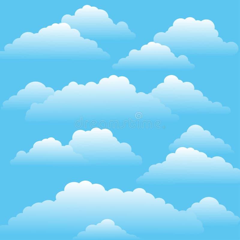 Blauwe hemel met wolken op een Zonnige dag vector illustratie