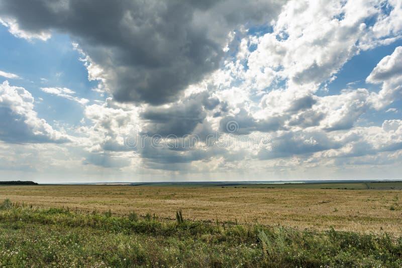 Blauwe hemel met wolken, vallei met vernietigd gras en groene vegetatie, de zomer bewolkte dag, aardlandschap royalty-vrije stock afbeeldingen