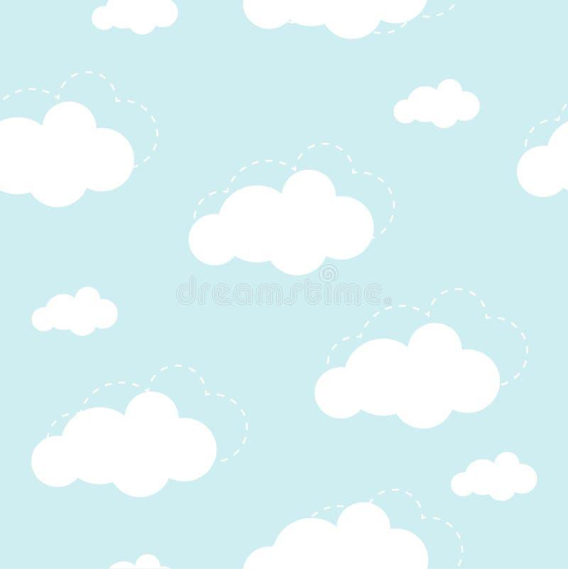 Blauwe hemel met wolken, vector naadloze achtergrond royalty-vrije illustratie