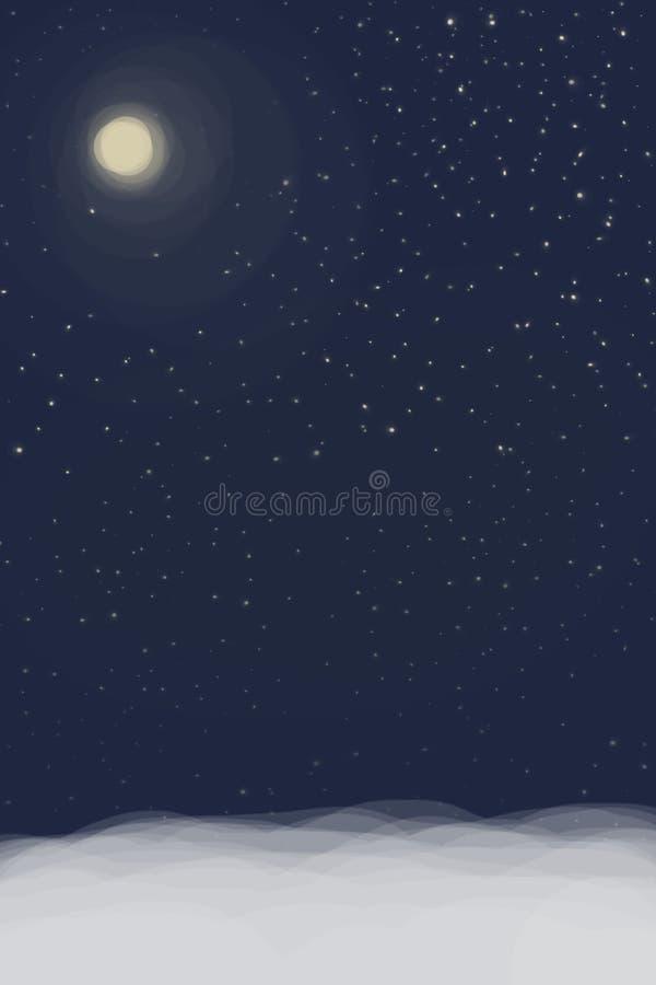 blauwe hemel, vele sterren of sneeuwvlokken en een volle maan die de hemel verlicht royalty-vrije stock fotografie