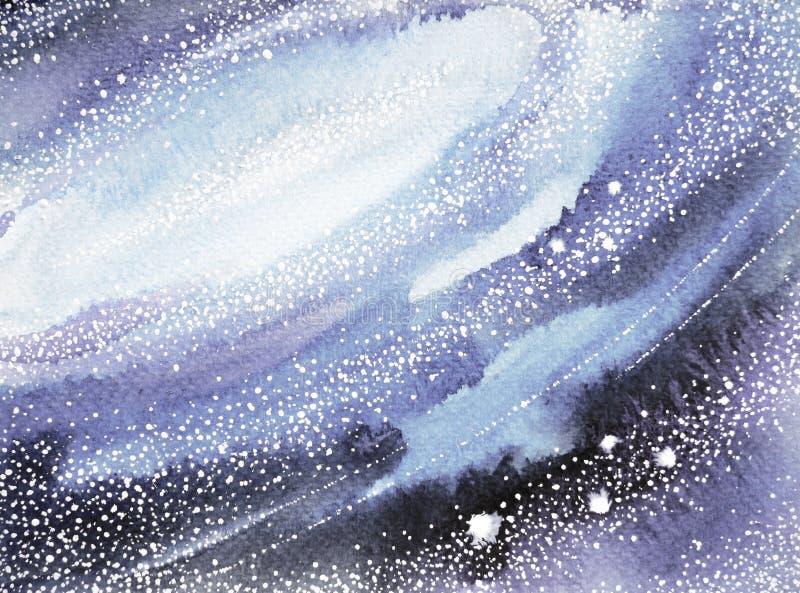 Blauwe hemelwereld, heelalwaterverf het schilderen achtergrond stock illustratie