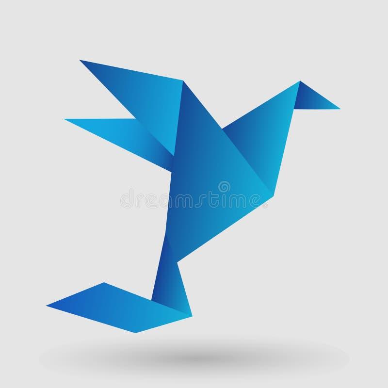 Blauwe het Document van de Origamivogel Ambacht die in Kader Art Isolated op Achtergrond vliegen royalty-vrije illustratie