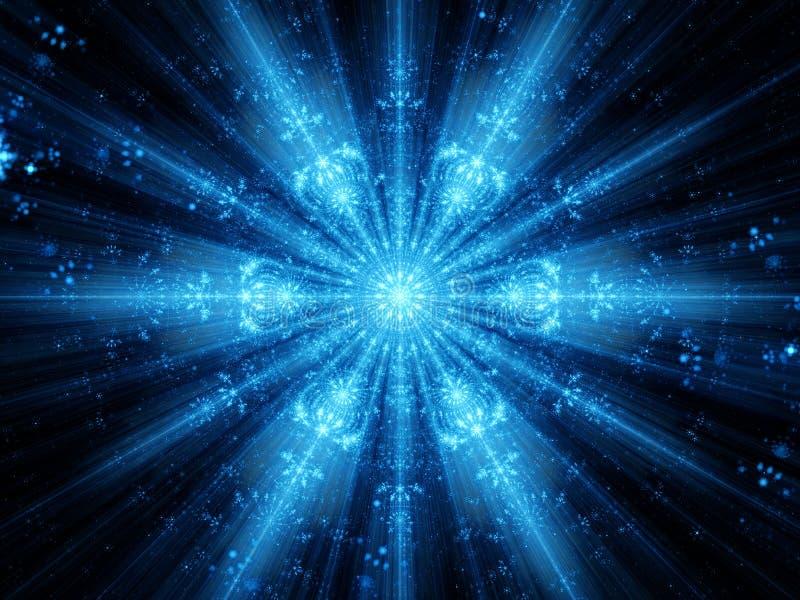 Blauwe het gloeien sneeuwvlokfractal vector illustratie
